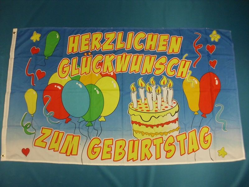 Hissfahne Dekofahne Flagge Groesse 90/150   Happy Birthday