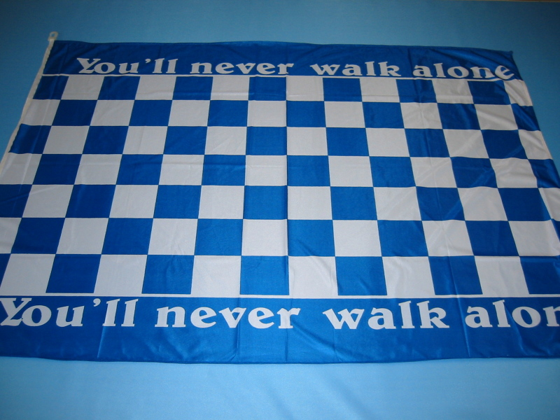 Hissfahne Fahne Flagge Groesse 100/150 Fahne You´ll never walke alone blau weiß